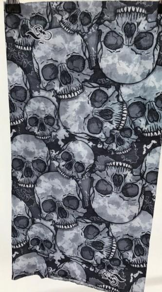 Schlauchschal Totenköpfe grau