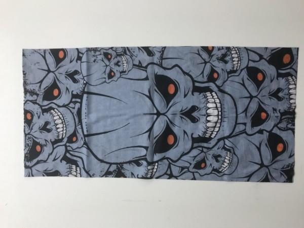 Motorradhalstuch Totenkopf grau mit roten Augen