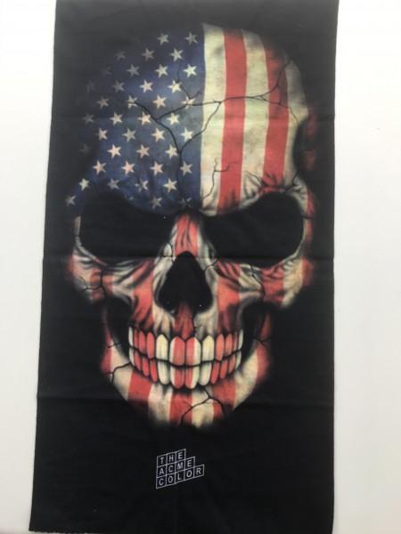 Motorradhalstuch USA Flagge Totenkopf