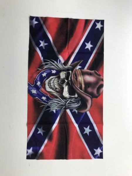 Schlauchschal Südstaatenflagge mit Totenkopf-Copy